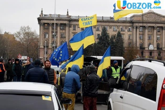 «Будемо стояти - поки не змерзнемо»: в Миколаєві мітингують власники автомобілів на «Єврономерах»
