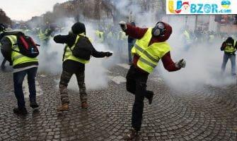 """""""Жовті жилети"""" підпалили вхід в будівлю """"Банку Франції"""" в Руані"""