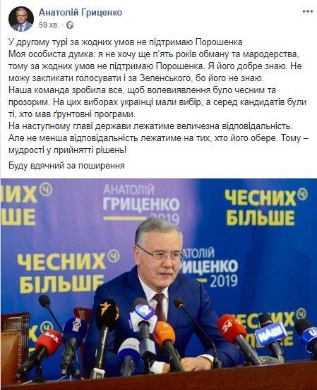 Гриценко заявив, що не підтримає в другому турі Петра Порошенка