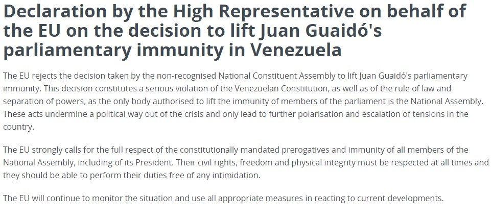 В ЄС не признали рішення про позбавлення Гуайдо недоторканості