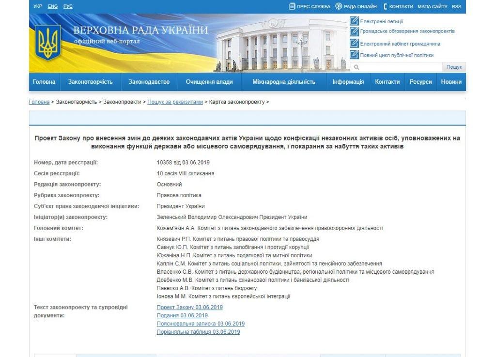 Володимир Зеленський подав до ВР  законопроект про кримінальну відповідальність за незаконне збагачення
