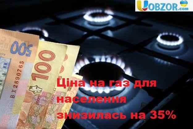 Ціна на газ для населення знизилась на 35%