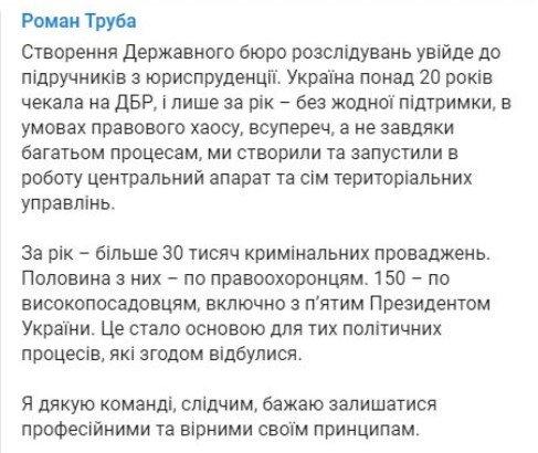 Державне бюро розслідувань: Романа Трубу достроково звільнять з посади